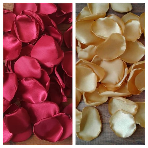 Burgundy and Gold rose petals Wedding flower girl centerpieces Floral Bridal shower decor Table decorations Bridesmaid gift box party.