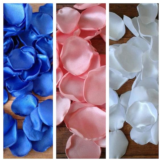 Royal blue and coral wedding decor, rose petals, wedding decor, artificial flowers, table decor, flower girl petals, ceremony decor, ideas.