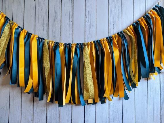 Teal and yellow garland, ribbon garland, 1st birthday boy decorations, ribbon garland backdrop, baby boy shower, party decor, banner.