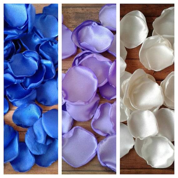 Royal blue and lilac rose petals, wedding decor, aisle runner decor, flower girl petals, church decoration, bridal shower decor, table decor