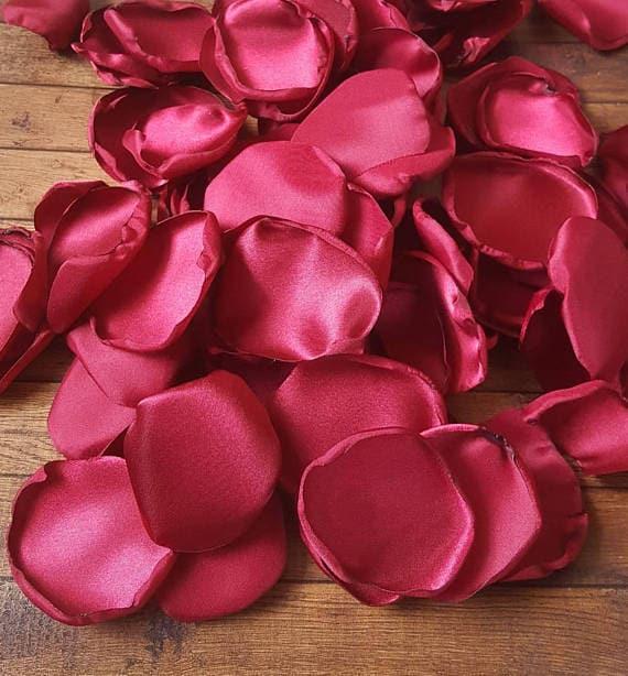 Cranberry rose petals, Cranberry wedding decor, fall wedding decor, maroon rose petals, flower petals, flower girl petals, table decor.