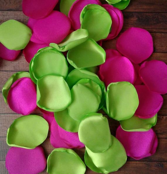 Lime green wedding, Lime green rose petals, hot pink wedding decor, hot pink rose petals, wedding table decor, summer wedding decor.