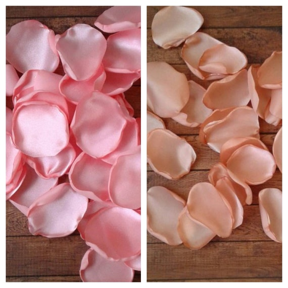 Coral wedding decor, coral rose petals, Peach rose petals, wedding decorations, aisle runner decor, bridal shower decor, table decorations.