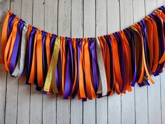 Purple and Orange garland, ribbon garland, bridal shower decorations, ribbon garland backdrop, football  party, party decor, basketball.