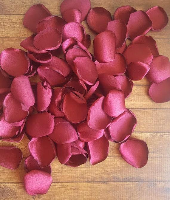 Burgundy rose petals, satin rose petals, rose petals, Burgundy wedding, wedding decor, wedding petals, fake petals, flower girl petals, diy.
