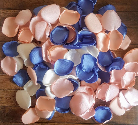 Blush peach Ivory and Dusty Blue rose petals wedding flowers table decor bridal shower flower girl toss aisle runner artificial fake.