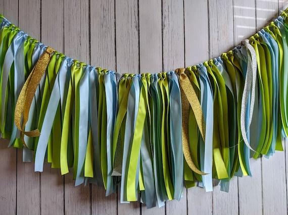 Boy birthday garland, ribbon garland, Blue and Green decorations, ribbon garland backdrop, 1st birthday boy party, party decor, banner.