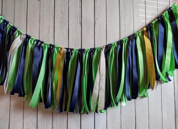 Navy and Mint garland, ribbon garland, wedding decorations, ribbon garland backdrop, party decor,high chair banner, photoprops,boy birthday.