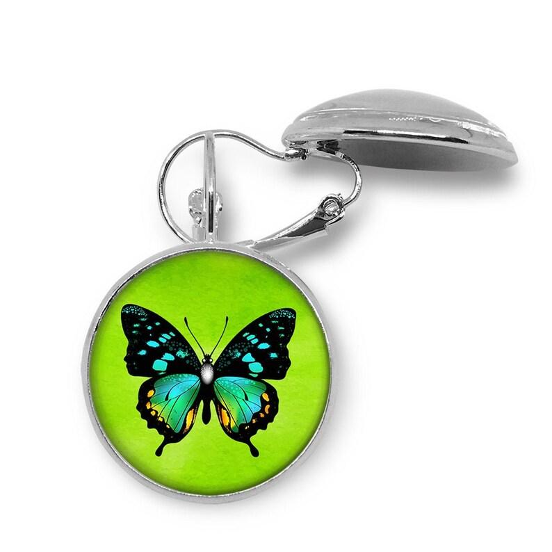 Aqua Butterfly \u2022  Jewelry Sets \u2022 Handmade Photo Jewelry \u2022 Glass Cabochon Pendant