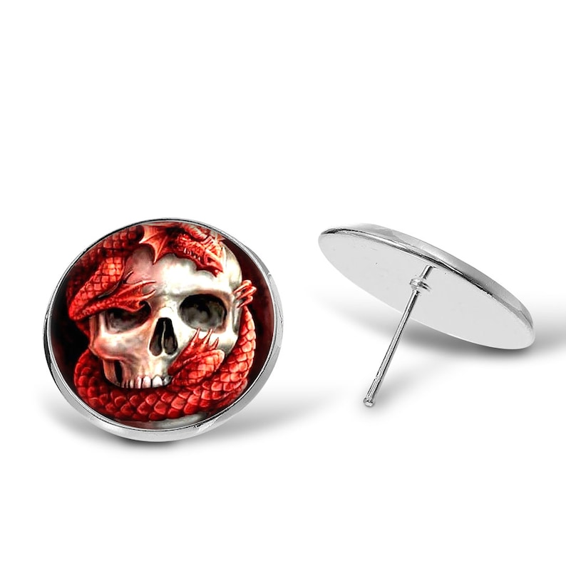 Keyring Drop Earrings Tie Clip Necklace Pendant Cufflinks Dragon Skull \u2022 Lizard Jewelry Sets Keychain Stud Earrings