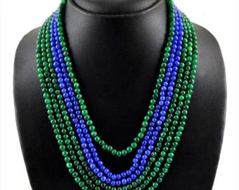 7-wire emerald and sapphire Necklace 485.00 ct Length 36-46 cm adjustable