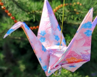 Pink Origami Ornament - Exquisite Christmas Ornament - Origami Christmas Ornament - Pink Peace Crane Ornament - Pink Japanese paper -#B7HGXM