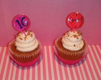 Sweet 16 Cupcake Picks - Set of 12