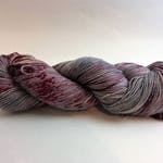 Grey and red speckled hand-dyed sock yarn, fingering yarn, superwash merino wool and nylon, indie dyed yarn Colorway- I've Got a Little List