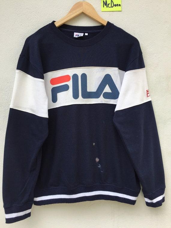 Fila Sweatshirt Vintage Fila Sweater Sweatshirt Spell Out Fila Big Logo Longsleeve Fila Shirt Swag Hip Hop Sport Surfing sz L