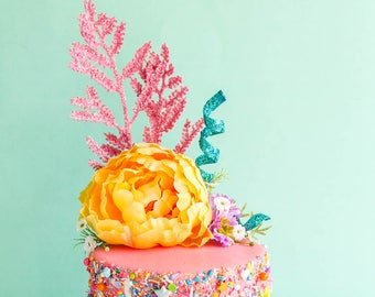 Summer Floral Topper- Cake topper, prop cake, party decor