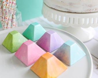 Rainbow Pyramid Chocolates- Fake candy, prop candy, party decor