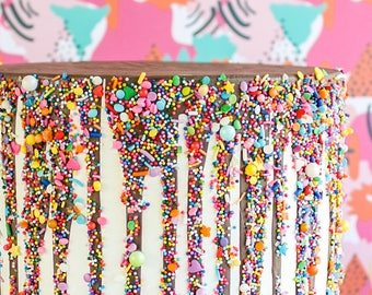Chocolate Sprinkled Drip Cake- Fake cake, prop cake, party decor