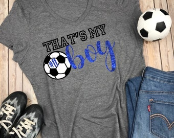 7a561a940 Thats my boy V Neck Soccer Mom Shirt with Blue Glitter and black and white  design with soccer ball, Soccer Mom Shirt, Gift for soccer mom