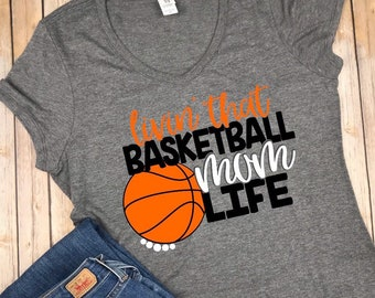 Livin that Basketball Mom Life VNeck T Shirt 487b4bd4e631