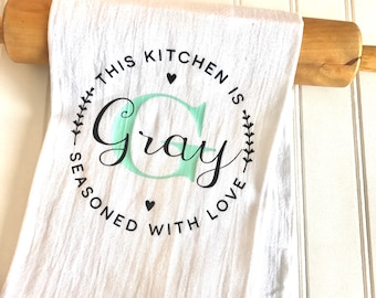 Monogram kitchen towel, personalized kitchen towels, tea towel, kitchen towels, Mothers Day Gift, hostess gift, kitchen decor, kitchen towel