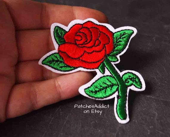 RED ROSE FLOWER TATTOO EMBROIDERED CLOTH SEW IRON ON PATCH BADGE JACKET BAG