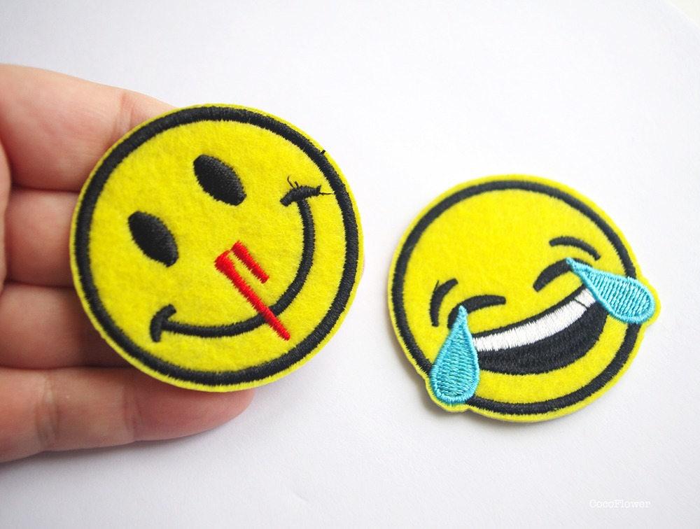 d506673077b3a Patch emoji écusson émoticône applique smiley en tissu