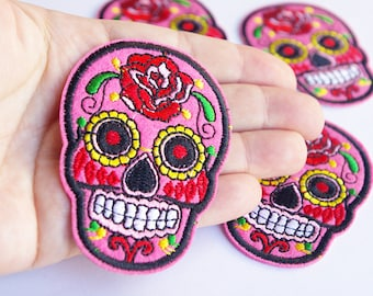 Pink Sugar Skull Patch Iron on Patch Embroidered Applique Rock Patches 7 cm Day of the Dead Mexican Skull lover gift