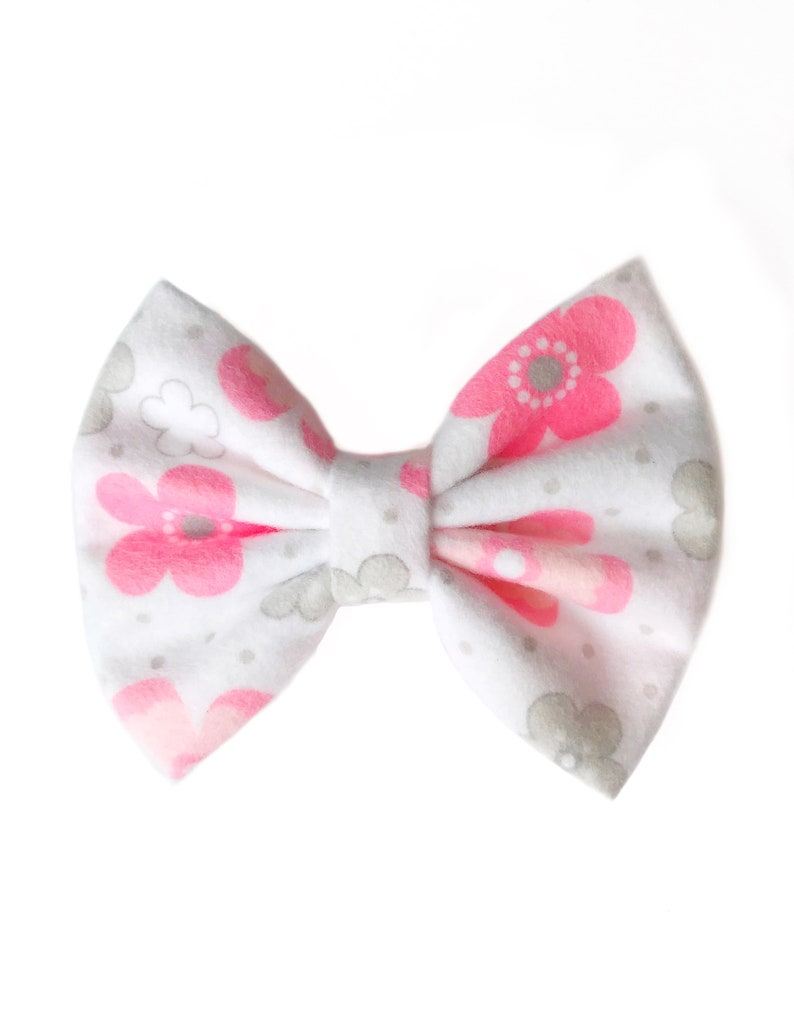 Pink and Grey Floral Cozy Bow  Nylon  Headband  Girl  Baby  Toddler  Spring  Easter  Soft  Small  Accessories