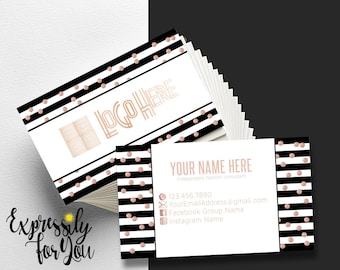 Lularoe business cards etsy business cards small business owner boutique business cards black and white stripes rose gold business cards colourmoves