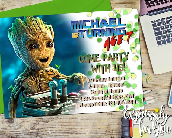 Guardians Of The Galaxy Invitations Groot Invitations