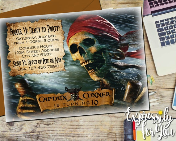 pirates of the caribbean invitation pirates invitations dead etsy