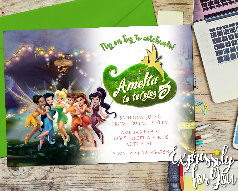 Disney Fairies Birthday Invitation Tinkerbell Fairy