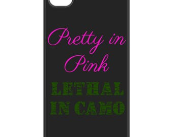 Pretty in Pink Lethal in Camo phone case