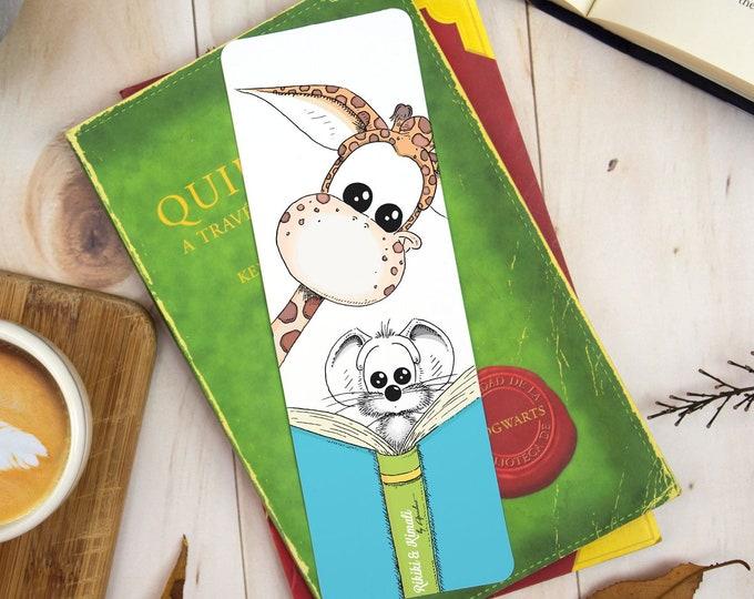 Laminated Bookmark, Illustrated Giraffe Bookmark