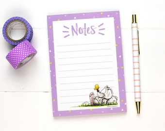 Notepad, Memo pad, Paper pad for notes, Gifts for teachers, Writing Pad, Cute stationery, Purple notepad
