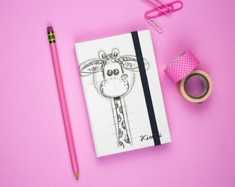 Pocket Notebook, Travelers Notebook, Giraffe Notebook, Black and wite notebook, Travel Diary, Mini Notebook, Small notebook, Illustrated