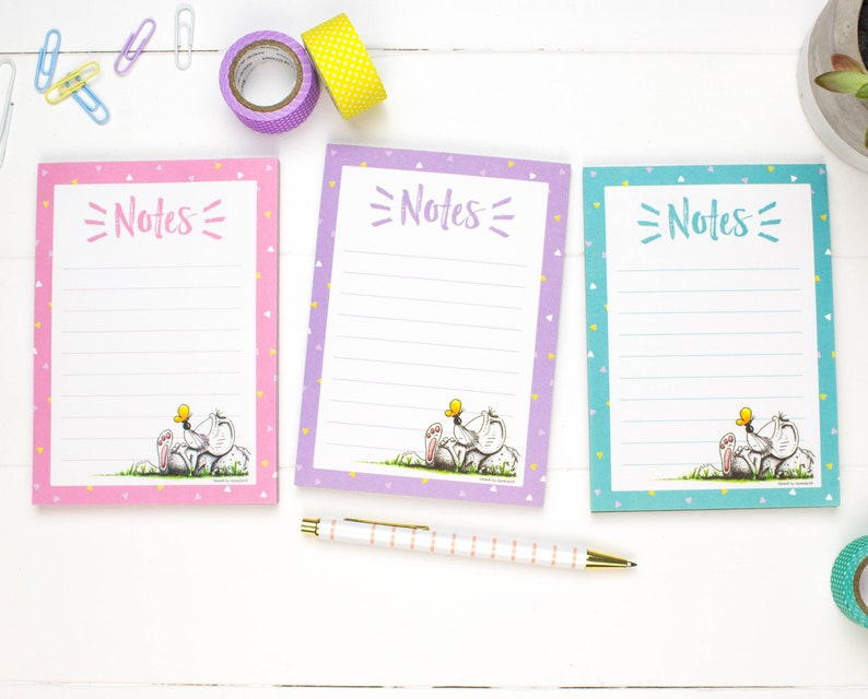 Set of 3 Notepads Set of Memo Pads Set of Cute Illustrated image 0