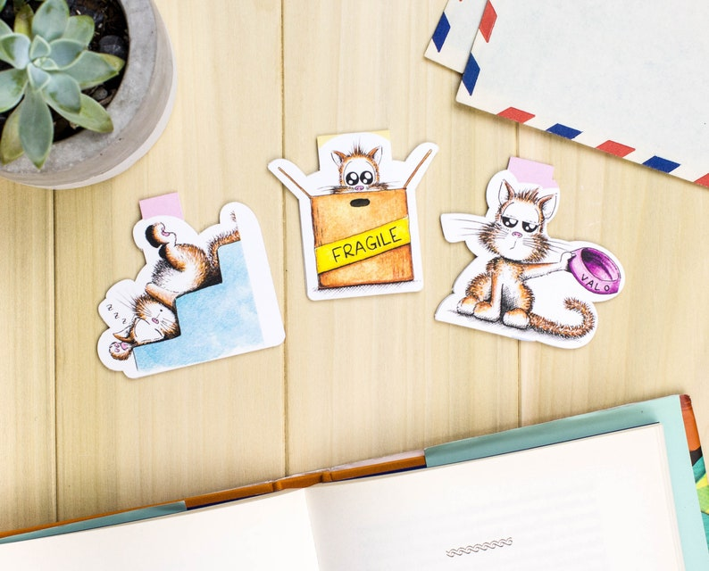 Cat Magnetic bookmark set Cat Planner bookmark set Cute image 0