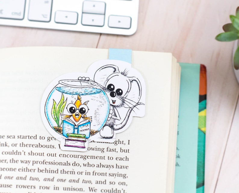 Mouse Magnetic bookmark Fish bookmark Mouse bookmark Cute image 0