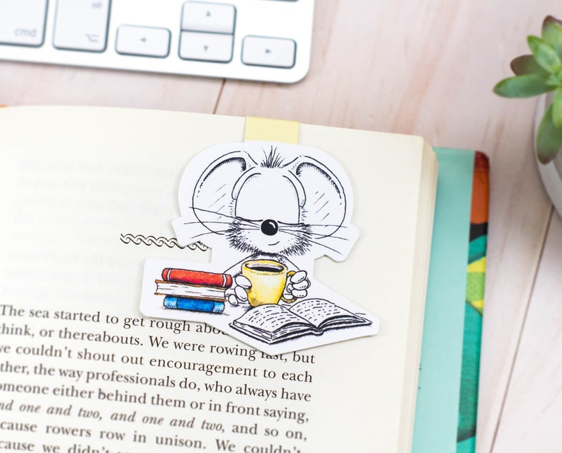 Cute Mouse Magnetic bookmark Coffee bookmark Mouse bookmark image 0