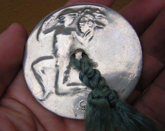 Rare Ornate Antique Deco Hand Mirror Perseus Holding Medusa Head Greek  Mythology Motif
