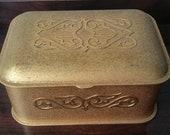 Antique Arts Crafts Bronze Box Silvercrest Gold Encrusted