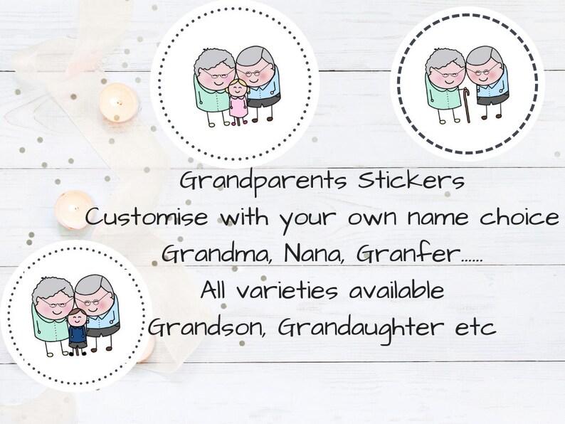 Grandparents Stickers Choose Your Text Nana Nanny Grandpa image 0