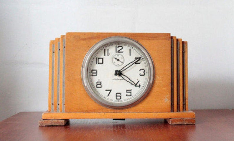 Soviet Clock Antique Wooden Clock Desk Clock Mantel Clock Etsy
