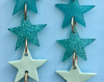 Resin Star Statement Earrings - Pale Blue Mix