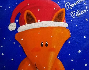 Happy holidays! Christmas Fox painting