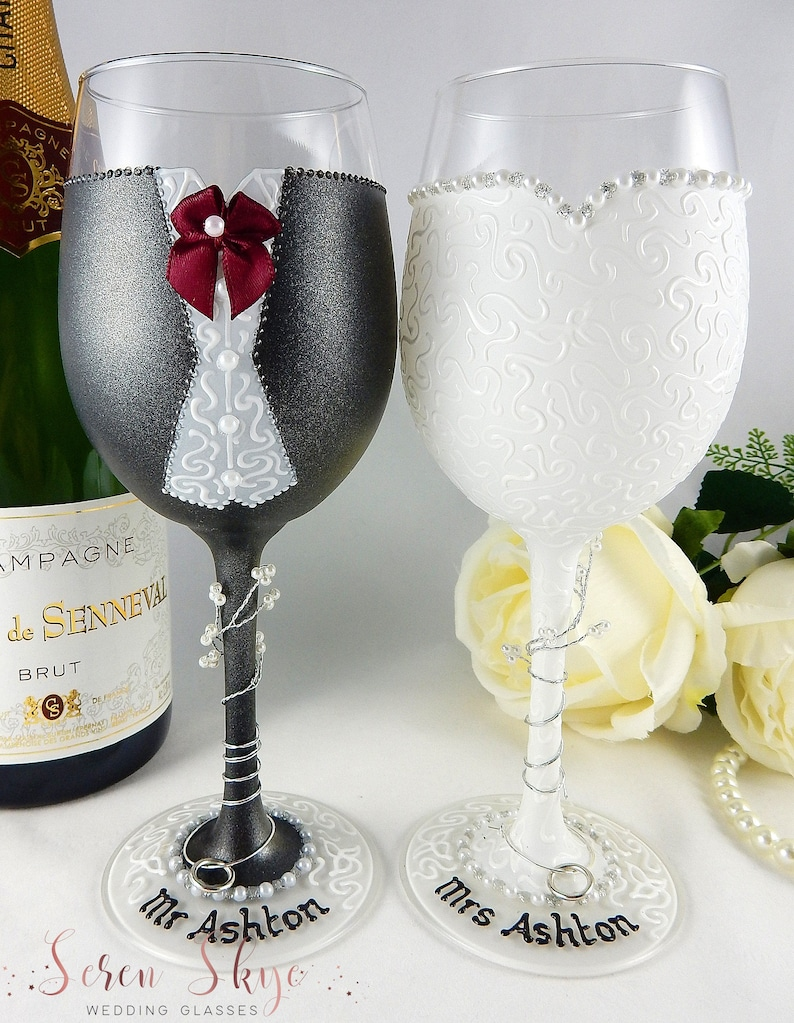 Personalised wine glasses  hand painted personalised bride and groom wine glasses  charcoal suit  hand painted  postponed wedding  gift