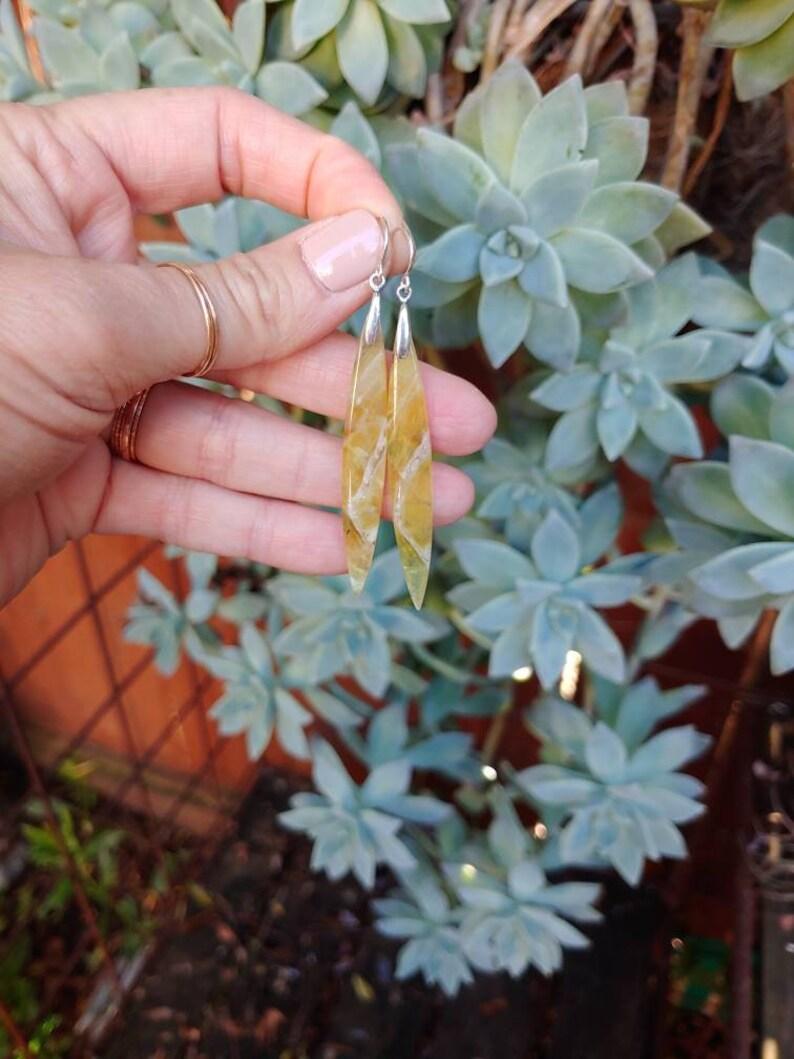 Yellow opal long earrings Dagger earrings Opal earrings