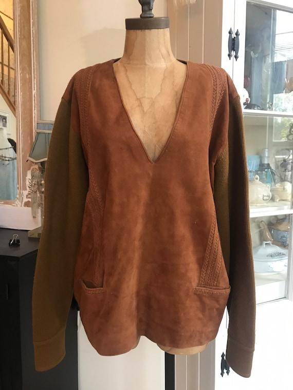 Vintage suede sweater, vintage Saks Fifth Avenue